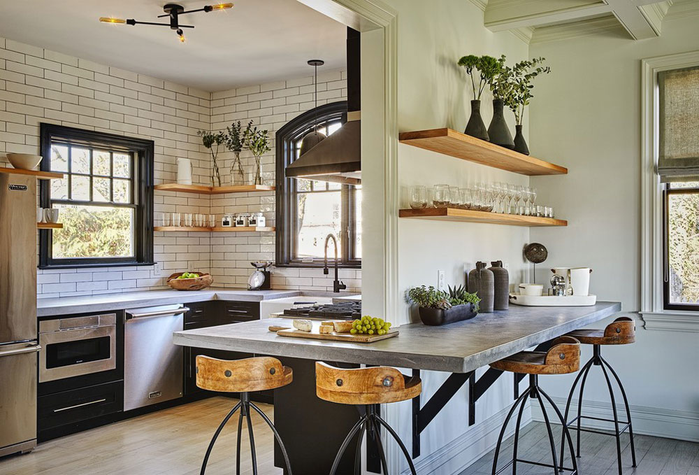 Carriage-house-by-garden designs ideas for industrial kitchens: cabinets, shelves, chairs, and lighting