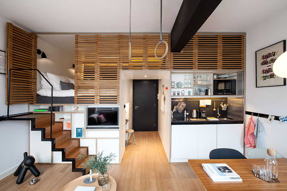 Wood paneled apartment interior design solutions for your small apartment