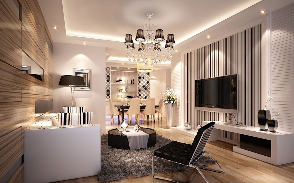 Beautiful living room with striped walls-5 Beautiful living room with striped walls