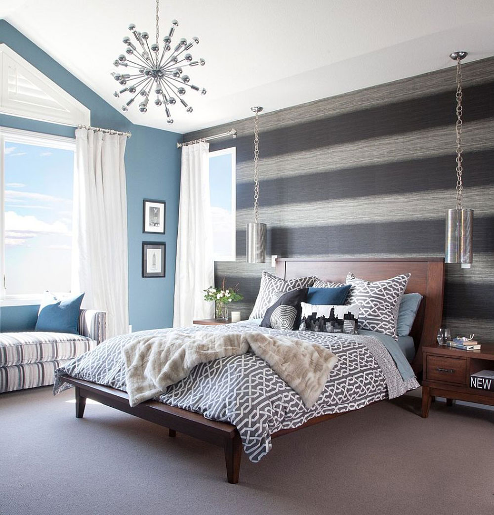 The not at all extravagant bedroom with striped walls-1 The not at all extravagant bedroom with striped walls