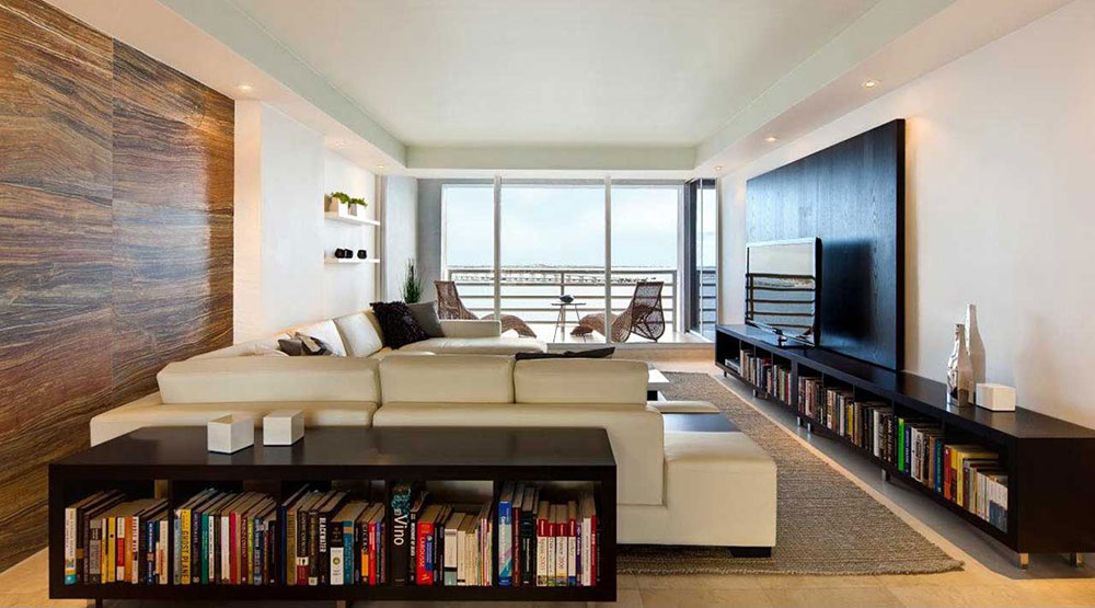 Modern-Apartment-Interior-For-Living-Room-WIth-Bookshelfs Upgrade your apartment to your style