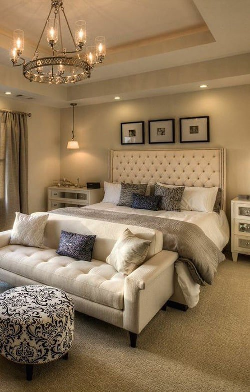 A collection of examples of large bedroom interiors
