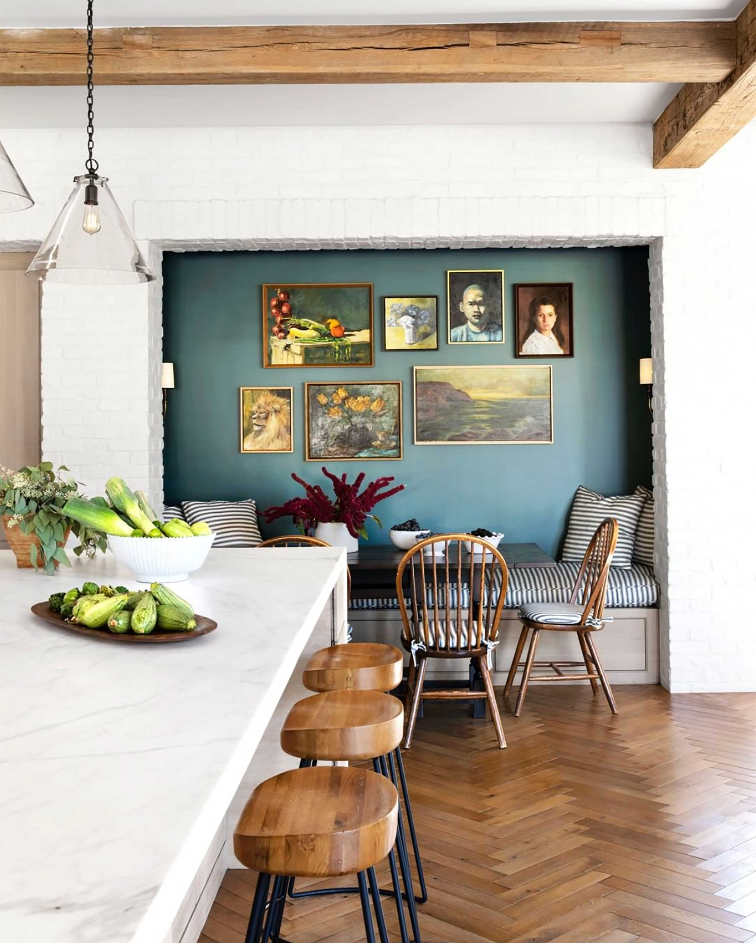Accentuate a neutral interior with color