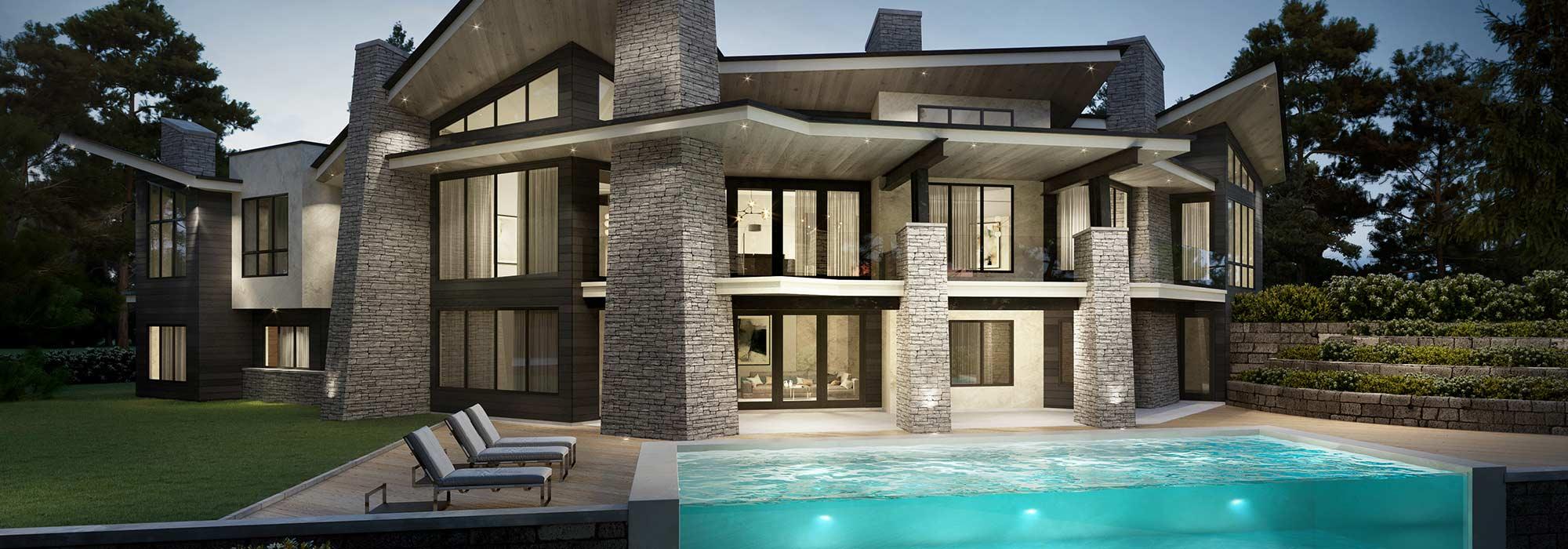 Contemporary three story home designed by Signature Custom Homes