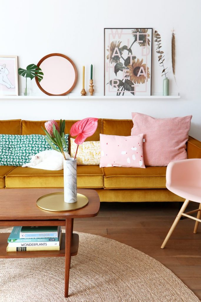 Decorate with a yellow couch