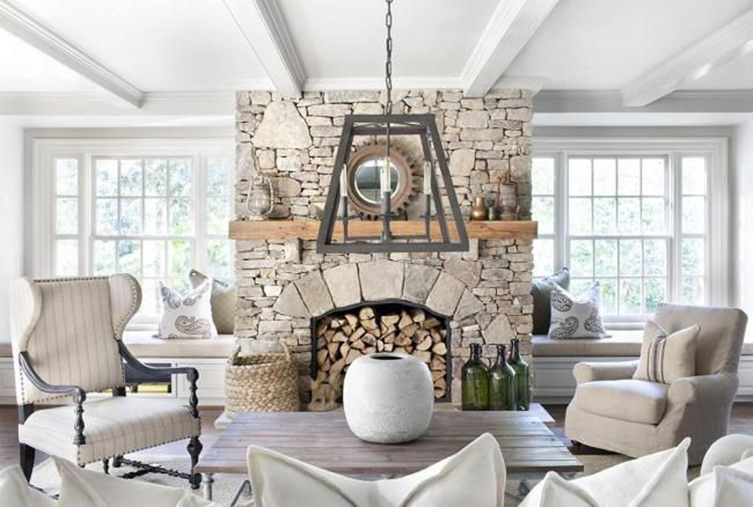 Fireplace stove: decor, stone and cover