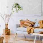 Modern and elegant gray living room interior
