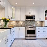 Nice kitchen interior with white cabinets
