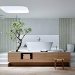 The elegant design of the Japanese style bathroom