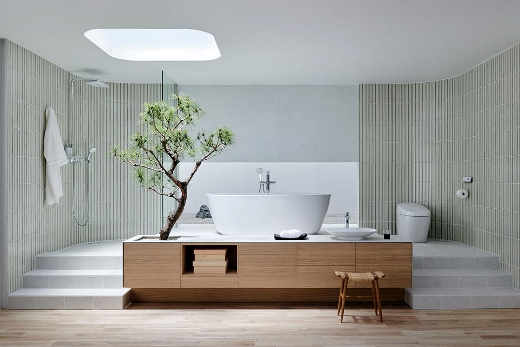The elegant design of the Japanese style bathroom