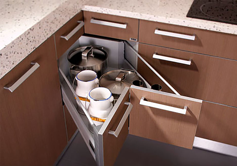 Use corner shelves to make the most of your kitchen space