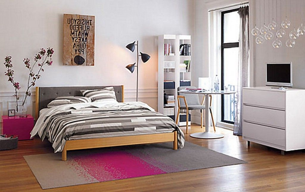 Bed by the floor different bedside lamps