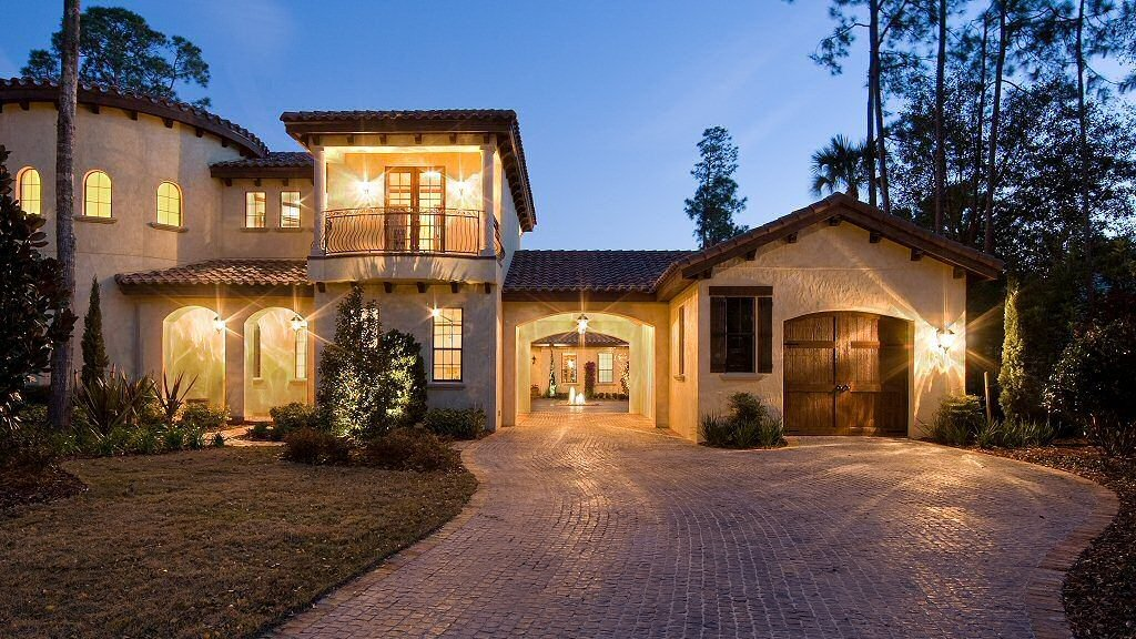 house with outdoor lanterns