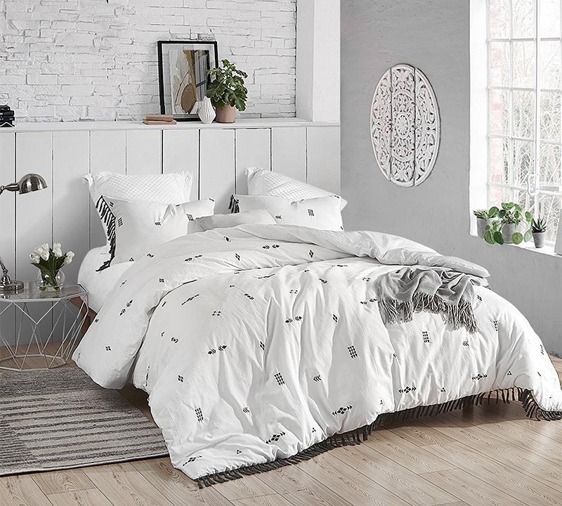 king duvet cover white gray