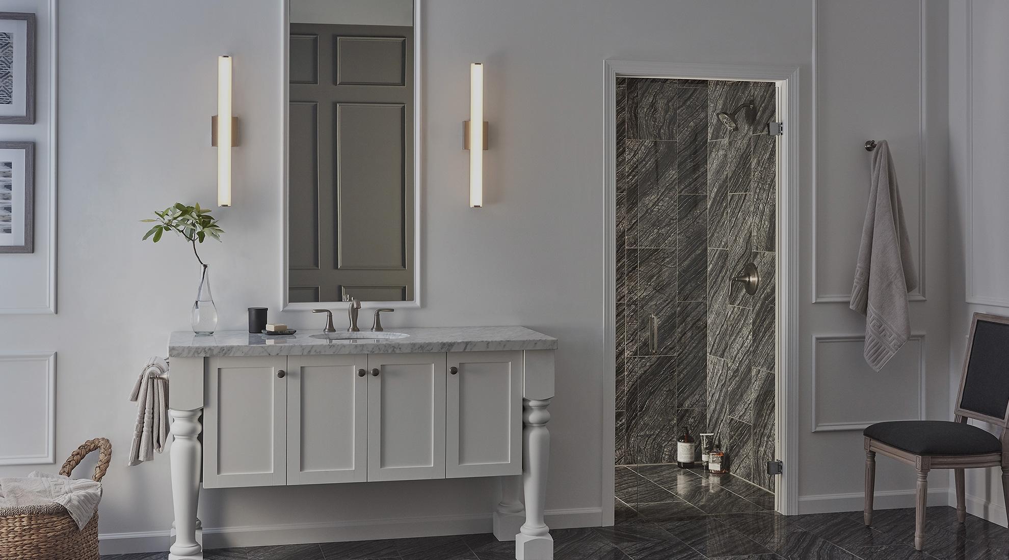 Make your bathroom comfortable through organization and cool bathroom lighting