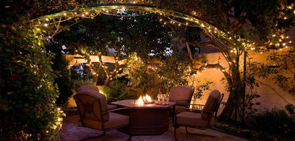 Outdoor courtyard lighting