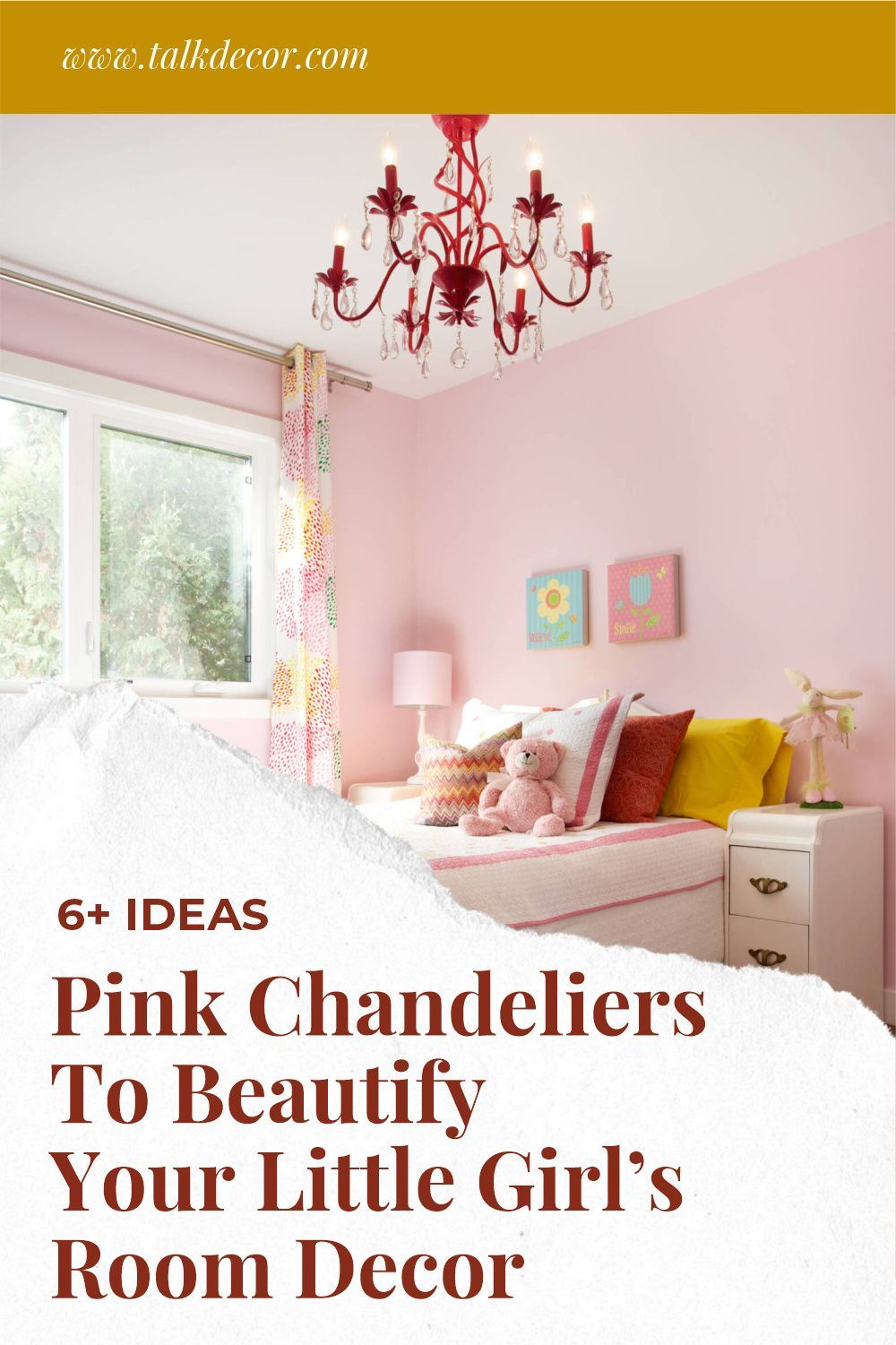 Use a pink chandelier to decorate a girl's room