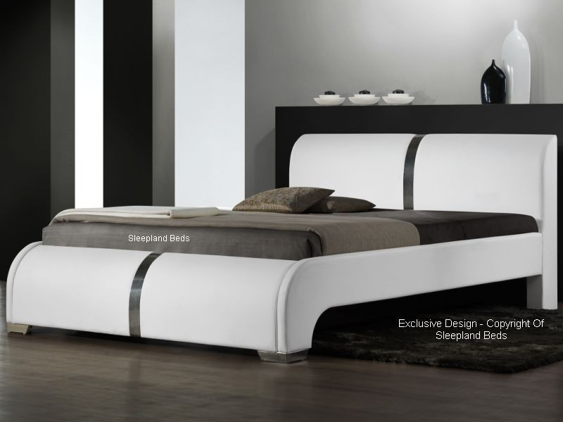 white luxury leather beds for sale